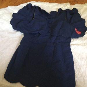 Asos petite scalloped hem mini dress Navy